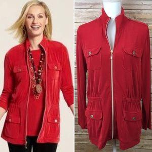 Chico's Travelers Red Zip-Up Jacket